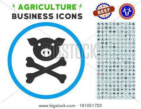 Pig Death rounded icon with agriculture commercial glyph clipart. Vector illustration style is a flat iconic symbol inside a circle, blue and gray colors. Designed for web and software interfaces.