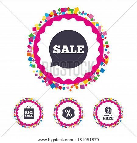 Web buttons with confetti pieces. Sale speech bubble icon. Discount star symbol. Big sale shopping bag sign. First month free medal. Bright stylish design. Vector