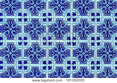 Portuguese azulejo tiles. Blue and white Abstract colorful wall background - Lisbon Portugal December 26 2016