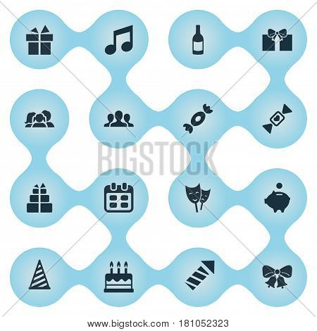 Vector Illustration Set Of Simple Holiday Icons. Elements Beverage, Mask, Domestic And Other Synonyms Fizz, Theater And Gift.