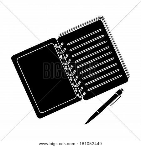 Paper notebook detective. Notepad to record readings, to solve the crime.Detective single icon in blake style vector symbol stock web illustration.