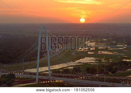 Margaret Hunt Hill Bridge At Sunset, Dallas, Texas, Usa