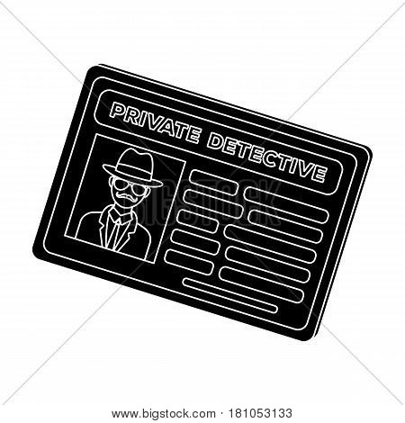 Documents of a private detective. Card that shows the personality of the detective.Detective single icon in blake style vector symbol stock web illustration.