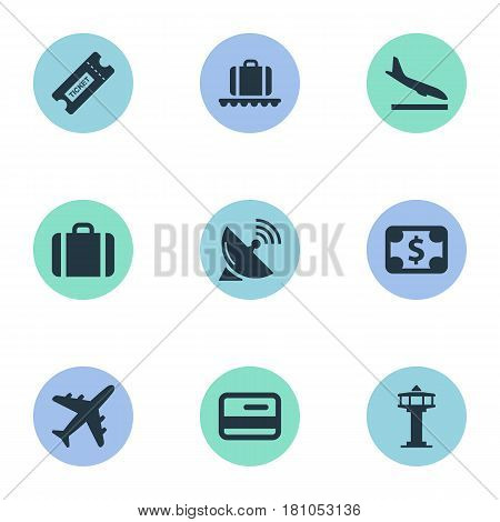 Vector Illustration Set Of Simple Plane Icons. Elements Flight Control Tower, Luggage Carousel, Antenna And Other Synonyms Alighting, Plane And Airplane.
