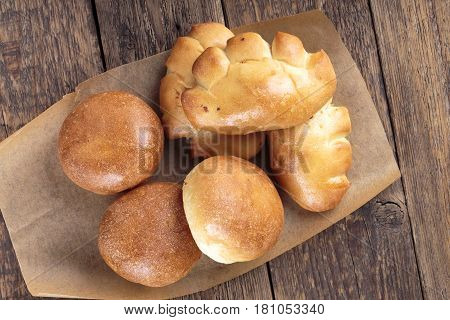Pirozhki. Traditional Russian small stuffed pies. Baked savory patties. Top view.