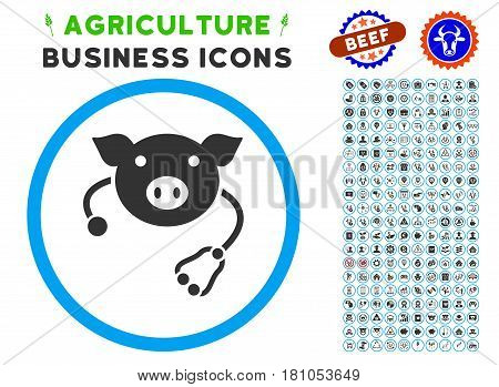 Pig Veterinary rounded icon with agriculture business glyph pack. Vector illustration style is a flat iconic symbol inside a circle, blue and gray colors. Designed for web and software interfaces.