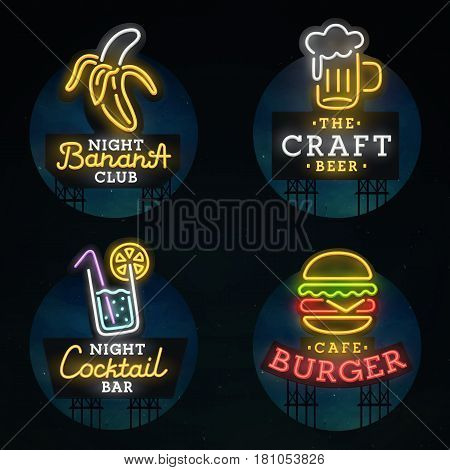 Set neon sign. Neon sign, bright signboard, light banner.