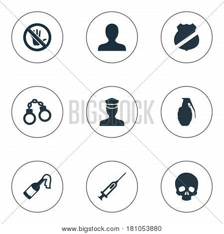 Vector Illustration Set Of Simple Crime Icons. Elements Person, Skeleton, Officer Badge And Other Synonyms Sheriff, Policeman And Syringe.