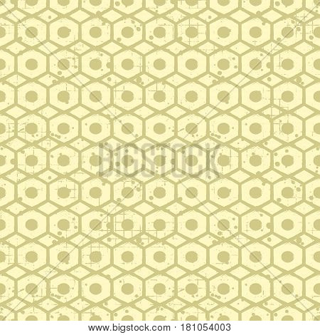 Seamless Vector Grunge Pattern. Creative Geometric Background With Screw Nut. Grunge Texture With At