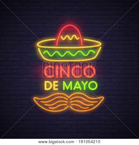 Cinco De Mayo neon sign, bright signboard, light banner. Mexico logo, emblem