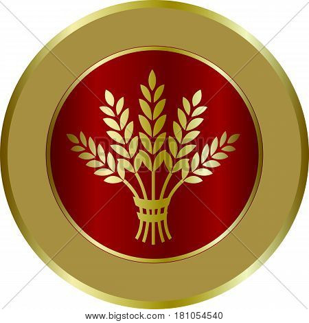 Golden ripe wheat sheaf in circle on red background. Vector decorative element brand icon or logo template.