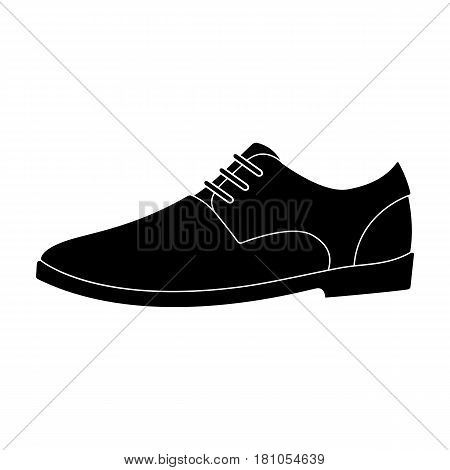 Mens leather shiny shoes with laces. Shoes to wear with a suit.Different shoes single icon in black style vector symbol stock web illustration.