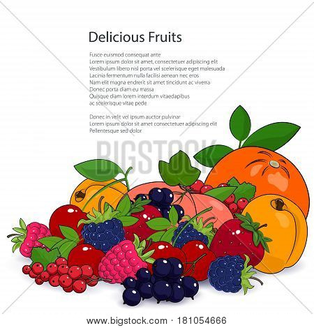 Juicy Summer Fruits and Berries Isolated on a White Background and the Text, Fresh Eco and Healthy Food Concept, Poster Brochure Flyer Design, Vector Illustration