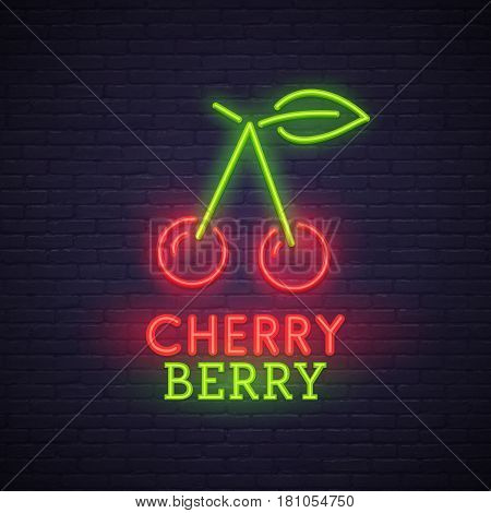 Cherry berry sign. bright signboard, light banner. Cherry logo, emblem.