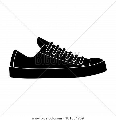 white sneakers unisex lace up. Shoes for sports and daily life.Different shoes single icon in black style vector symbol stock web illustration.