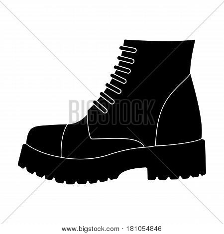 Men brown shoes with thick soles. Shoes for nonconformists.Different shoes single icon in black style vector symbol stock web illustration.