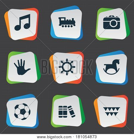 Vector Illustration Set Of Simple Kid Icons. Elements Rudder, Bookshop, Festival And Other Synonyms Direction, Sport And Music.