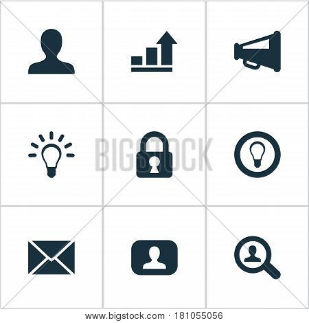 Vector Illustration Set Of Simple Trade Icons. Elements Megaphone, Padlock, Lamp And Other Synonyms Representative, Distribution And Magnifier.