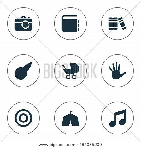 Vector Illustration Set Of Simple Kid Icons. Elements Tent, Textbook, Bookshop And Other Synonyms Photo, Musical And Finger.