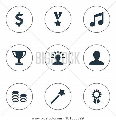 Vector Illustration Set Of Simple Awards Icons. Elements Victory, Trophy, User And Other Synonyms Trophy, Avatar And Profile.