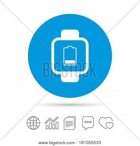 Smart watch sign icon. Wrist digital watch. Low battery energy symbol. Copy files, chat speech bubble and chart web icons. Vector