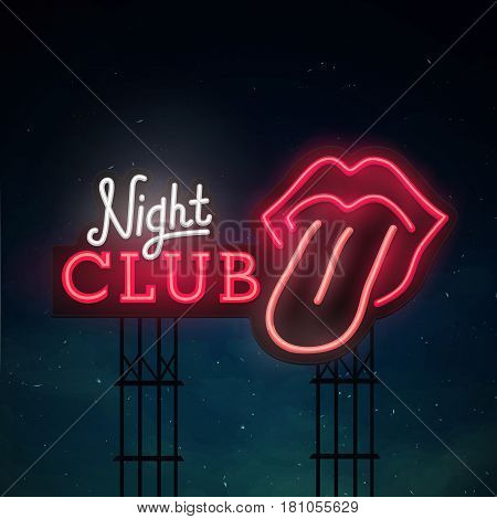 Night club road sing. City sign neon. Logo, emblem. bright signboard, light banner. Open mouth with red female lips and tongue.