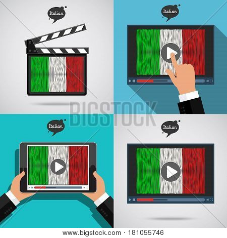 Concept of learning languages. Study Italian set. Movie production clapper board and screen with hand drawn Italian flag. Film in Italian.