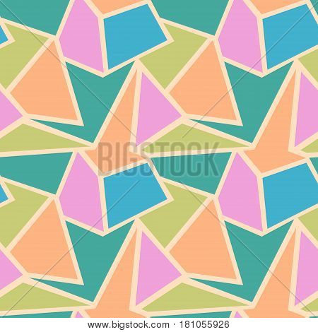 Seamless Vector Geometric Patterns. Background With Triangles In Pastel Colors. Graphic Illustration