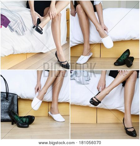 Women trying on shoes collage