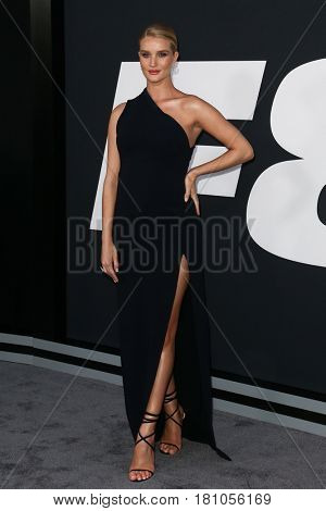 """NEW YORK-APR 8: Model Rosie Huntington-Whiteley attends the premiere of """"The Fate of the Furious"""" at Radio City Music Hall on  April 8, 2017 in New York City."""