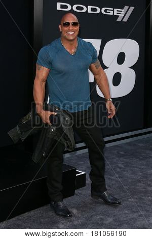 NEW YORK-APR 8: Actor Dwayne Johnson attends the premiere of