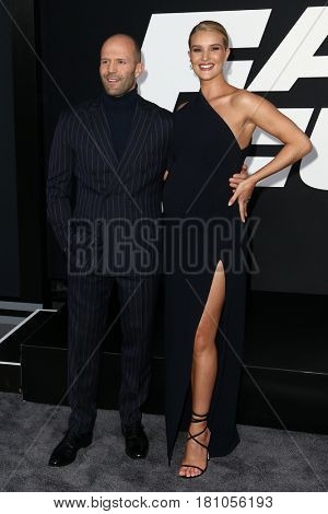 NEW YORK-APR 8: Actor Jason Statham (L) and model Rosie Huntington-Whiteley attend the premiere of