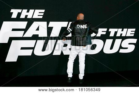 NEW YORK-APR 8: Actor Vin Diesel attends the premiere of
