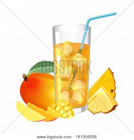 Glass of fresh juice with ice cubes and straw, healthy mango and pineapple nearby vector illustration isolated on white background. Tropical fruits slices ingredients of refreshing drink