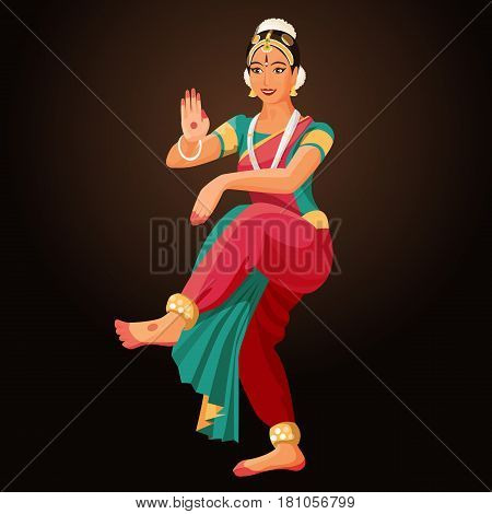 Bharatanatyam or Bharathanatiyam woman dancer vector ilustration isolated. Major genre of Indian classical dance originated in Hindu temples. Solo dance performed by girl