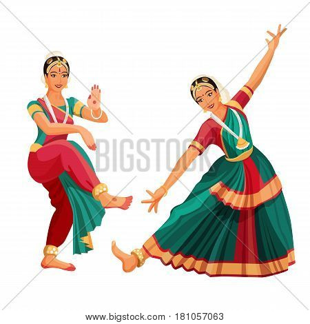 Woman dancer in national indian cloth dancing Bharatanatyam folk dance vector illustration isolated on white. Indian classical dance originated in Hindu temples, girls in asian national costumes