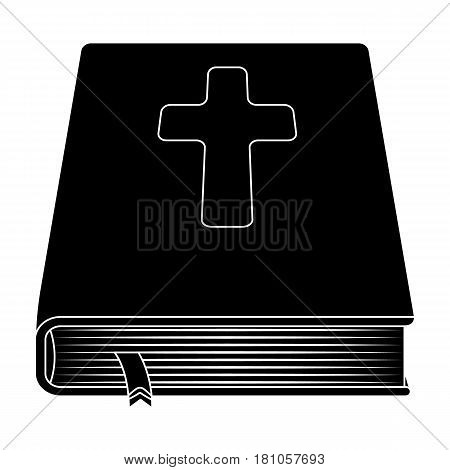 Book with a cross on the cover. The Bible. Easter single icon in black style vector symbol stock web illustration.