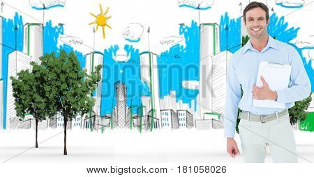 Digital composite of Digitally generated image of businessman with clipboard standing against buildings drawn in backgrou