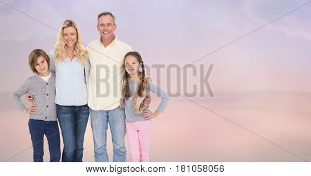 Digital composite of Portrait of smiling family standing at beach
