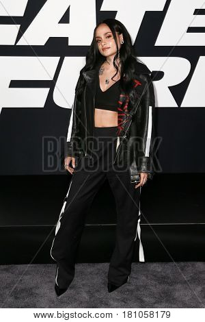 "NEW YORK-APR 8: Musician Kehlani attends the premiere of ""The Fate of the Furious"" at Radio City Music Hall on April 8, 2017 in New York City."
