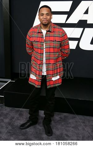 """NEW YORK-APR 8: Actor Mack Wilds attends the premiere of """"The Fate of the Furious"""" at Radio City Music Hall on April 8, 2017 in New York City."""