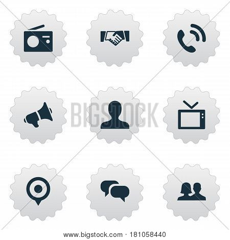 Vector Illustration Set Of Simple Network Icons. Elements Pin, Telly, Megaphone And Other Synonyms User, Point And Companion.