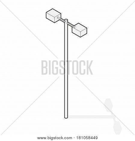 Street light, info graphic. Isometric blue lamp on white background. Outlined street minimalistic equipment. Pictogram of road lamp with details. Isolated master vector icon. Cartography map symbol.