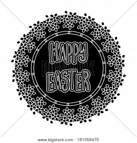 Sticker happy Easter. Easter single icon in black style vector symbol stock web illustration.