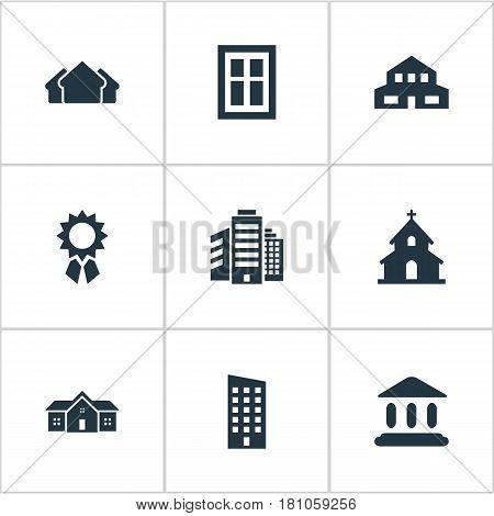 Vector Illustration Set Of Simple Architecture Icons. Elements Floor, Popish, Reward And Other Synonyms Domicile, Apartment And Booth.