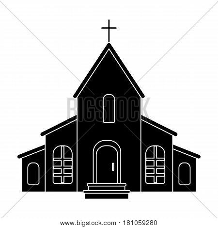 A Church with a cross on the roof. Easter single icon in black style vector symbol stock web illustration.