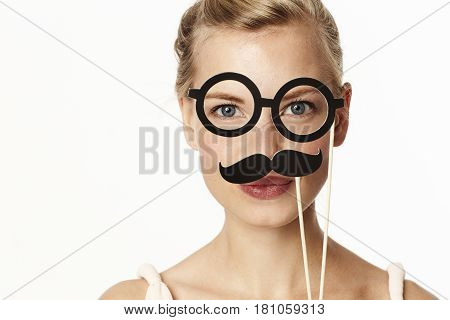 Stunning blond in mustache and glasses disguise