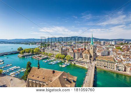 Aerial View Of Zurich With River Limmat, Switzerland