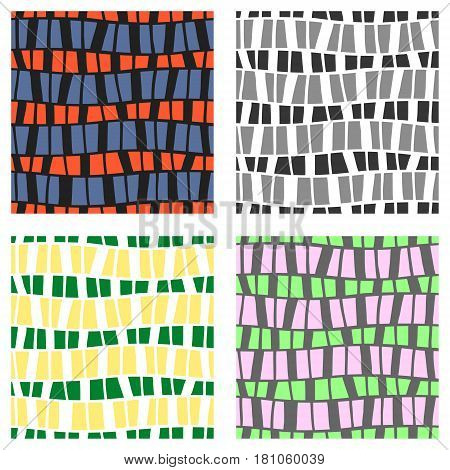 Set Of Seamless Vector Patterns. Colorful Geometric Background In Grey, Green, Pink Colors. Graphic