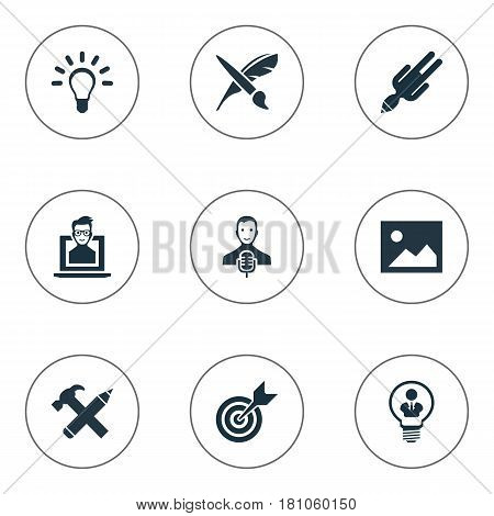Vector Illustration Set Of Simple Creative Thinking Icons. Elements Apathy, Accuracy, Mentality And Other Synonyms Paint, Performance And Falling.